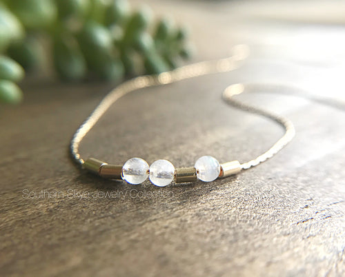 14K Gold Filled Morse Code Bracelet | Anklet | Moonstones | Custom Made