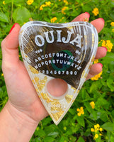 Resin Art | Large Ouija Planchette | Peacock Feather