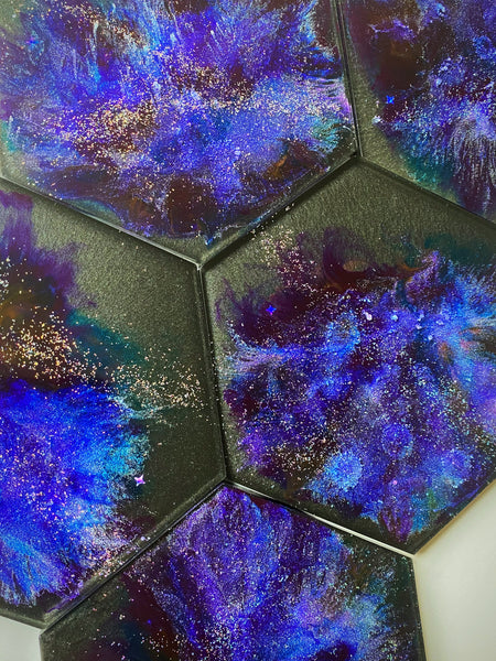 Resin Art | Large Hexagon | Galaxy | Zodiac Sign