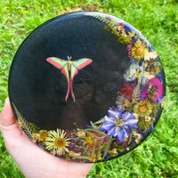 Resin Art | Large Round | Botanical Crescent Moon