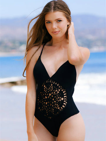CueAir Cyber Word Hollow One-piece Swimwear