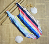 CueAir Looking For Stripe One-piece Swimwear