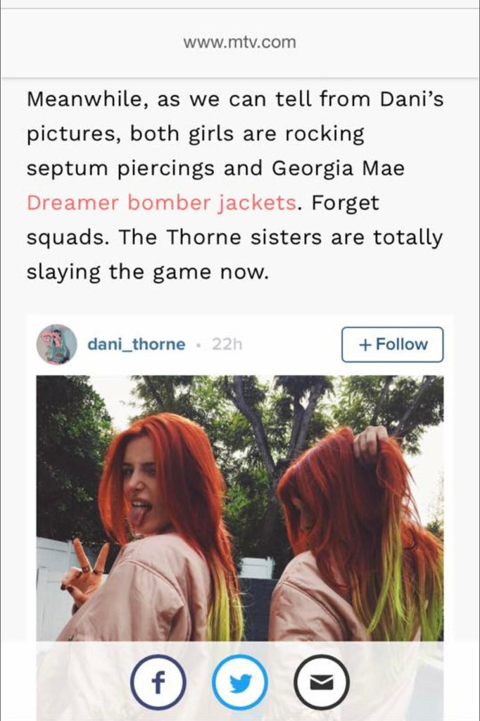 Bella Thorne in the Dreamer Bomber, MTV Article