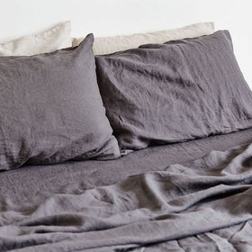 100% Linen Fitted Sheet Charcoal