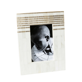 "Photo Frame 4x6"" - White Bone With Tribal Dot"