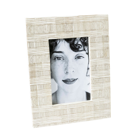 "Photo Frame 4x6"" - White Bone With Brown Stripe"