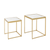 Anya Nesting Side Tables - Brass finish with marble top
