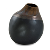 BLACK/GOLD CERAMIC ORGANIC VASE H27D23cm