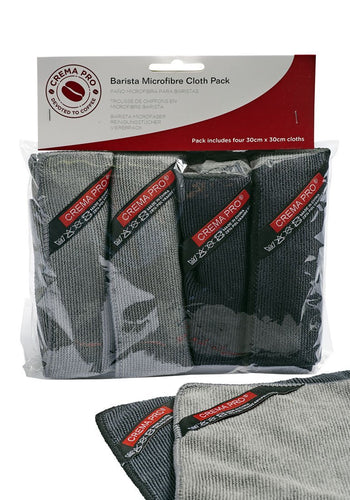 CREMA PRO Barista Micro Cloth 4 Pack. Perfect for cleaning up those messy spills around and on your machine.
