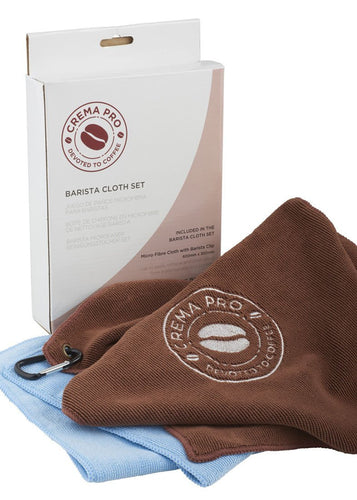 CREMA PRO Barista Micro Cloth Set. 2 perfect size towels for the busy barista, including a handy clip to keep you and your towel firmly attached!