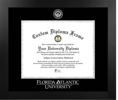 Modern Look, Satin Finish, Silver Trim, Embossed School Seal, Mahogany Wood Diploma Frame