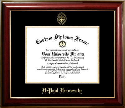 Classic Look, Glossy Finish, Gold Medallion, Mahogany Wood Diploma Frame