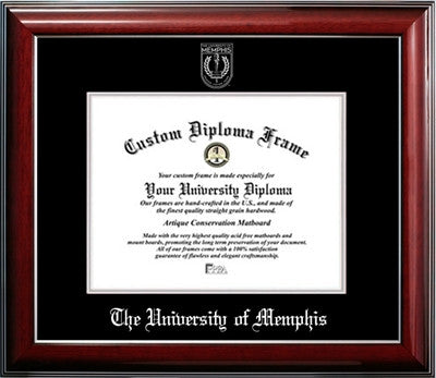 Classic Look, Glossy Finish, Silver Embossed Seal Mahogany Wood Diploma Frame