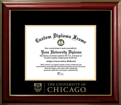 Classic, Glossy Finish, Gold Medallion, Mahogany Wood Diploma Frame