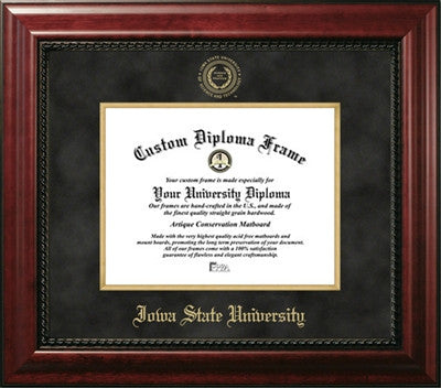 Executive Look, Satin Finish, Gold Medallion, Black Suede Mat, Top of the Line, Mahogany Wood Diploma Frame