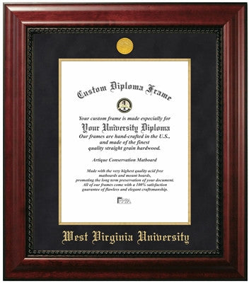 Executive Look, Satin Finish, Gold Medallion, Blue Suede Mat, Top of the Line, Mahogany Wood Diploma Frame
