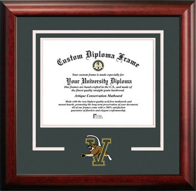 University /Mascot, Satin Finish, School Pride, For the True Enthusiast, Mahogany Wood Diploma Frame