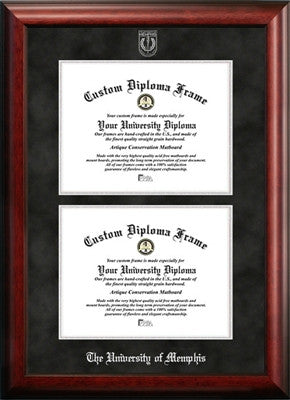 Double Degree, Satin Finish, Black Suede Mat, Gold 22K Medallion, Mahogany Wood Diploma Frame