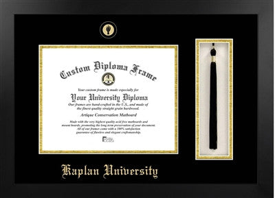 Tassel, Modern Look, Satin Finish, Gold Trim Embossed School Seal, Mahogany Wood Diploma Frame