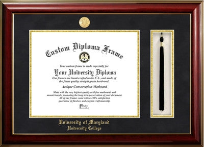 Tassel, Classic Look, Glossy Finish, Gold Trim Gold Medallion, Mahogany Wood Diploma Frame