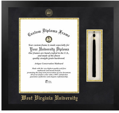 Tassel, Modern Look, Satin Finish, Gold Trim, Embossed School Seal, Mahogany Wood Diploma Frame