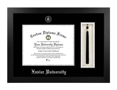 Tassel, Modern Look, Satin Finish, Silver Trim, Embossed School Seal, Mahogany Wood Diploma Frame