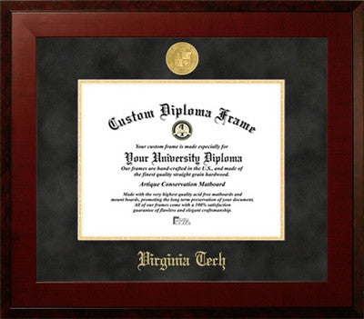 Black Suede Mat, Contemporary Look, Satin Finish, 22K Gold Medallion, Mahogany Wood Diploma Frame