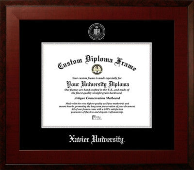 Black Suede Mat, Contemporary Look, Satin Finish, Silver Medallion, Mahogany Wood Diploma Frame