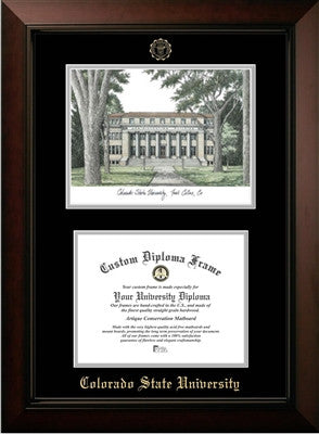 Campus Image, Satin Finish, Black Mat, Embossed School Seal, Mahogany Wood Diploma Frame