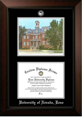 Campus Image, Satin Finish, Black Mat, Gold medallion, Mahogany Wood Diploma Frame