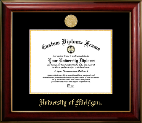 University of Michigan Gold Medallion Diploma Frame