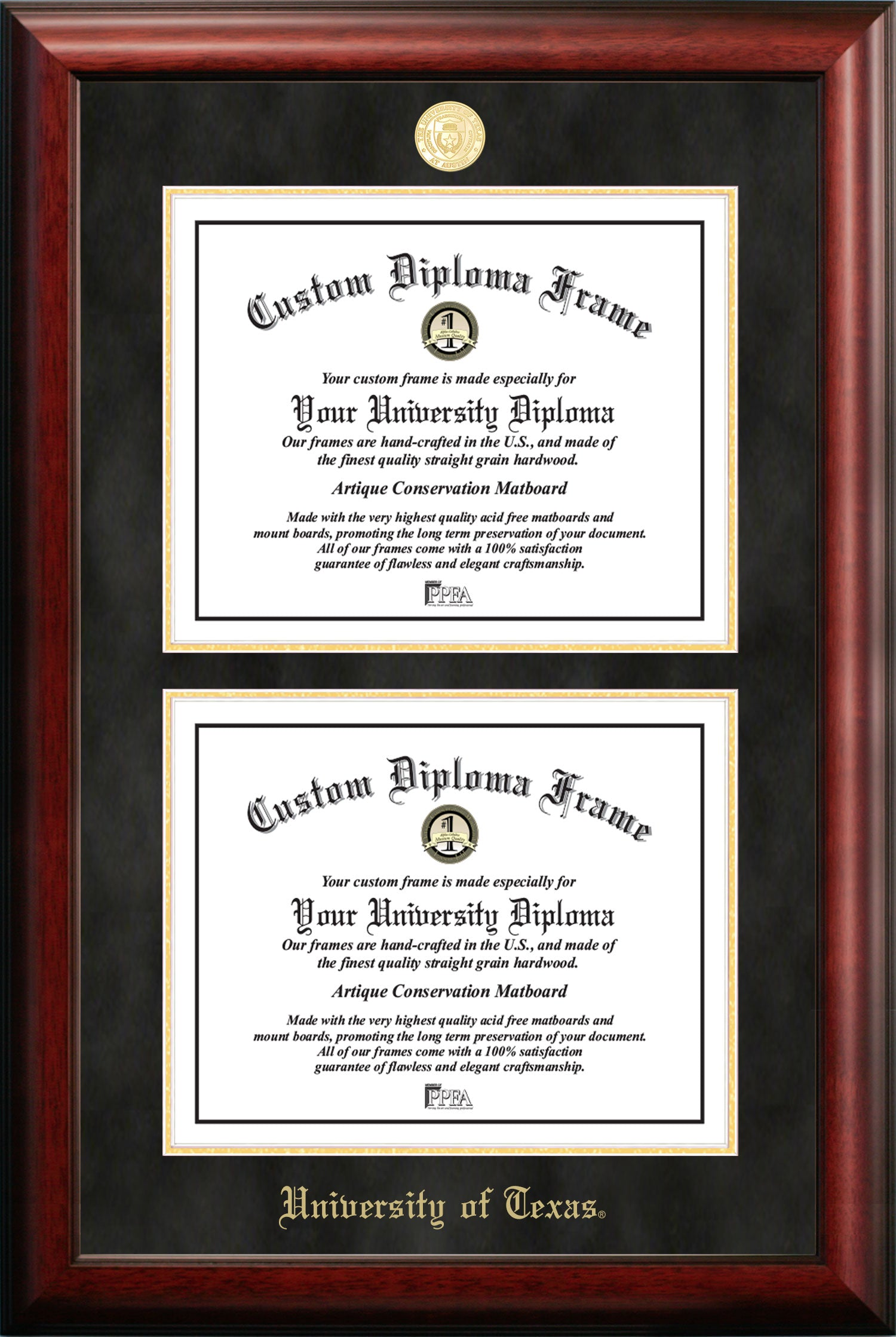 University of Texas Double Degree Diploma Frame