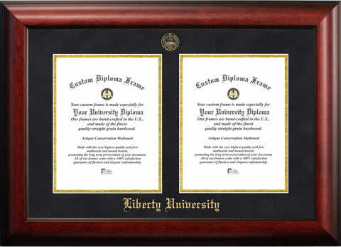 Liberty University Double Degree Diploma Frame
