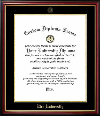 Rice University Affordable Mahogany Diploma Frame