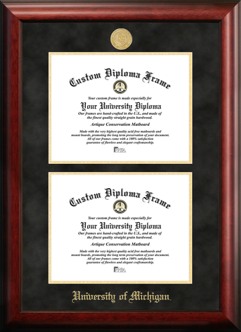 University of Michigan Double Degree Diploma Frame