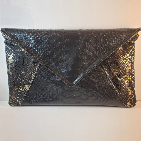 faux snakeskin envelope clutch