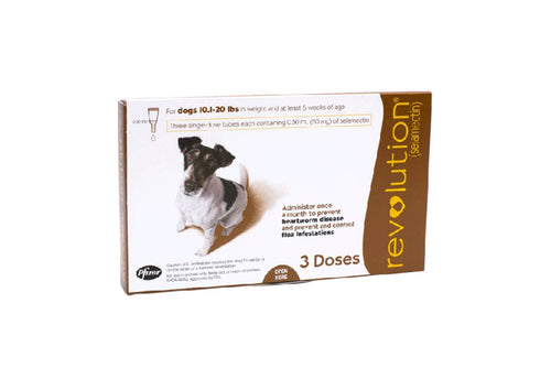 Revolution Brown for Small Dogs between 5-10kg (10.1-20lb) 3 Pipettes