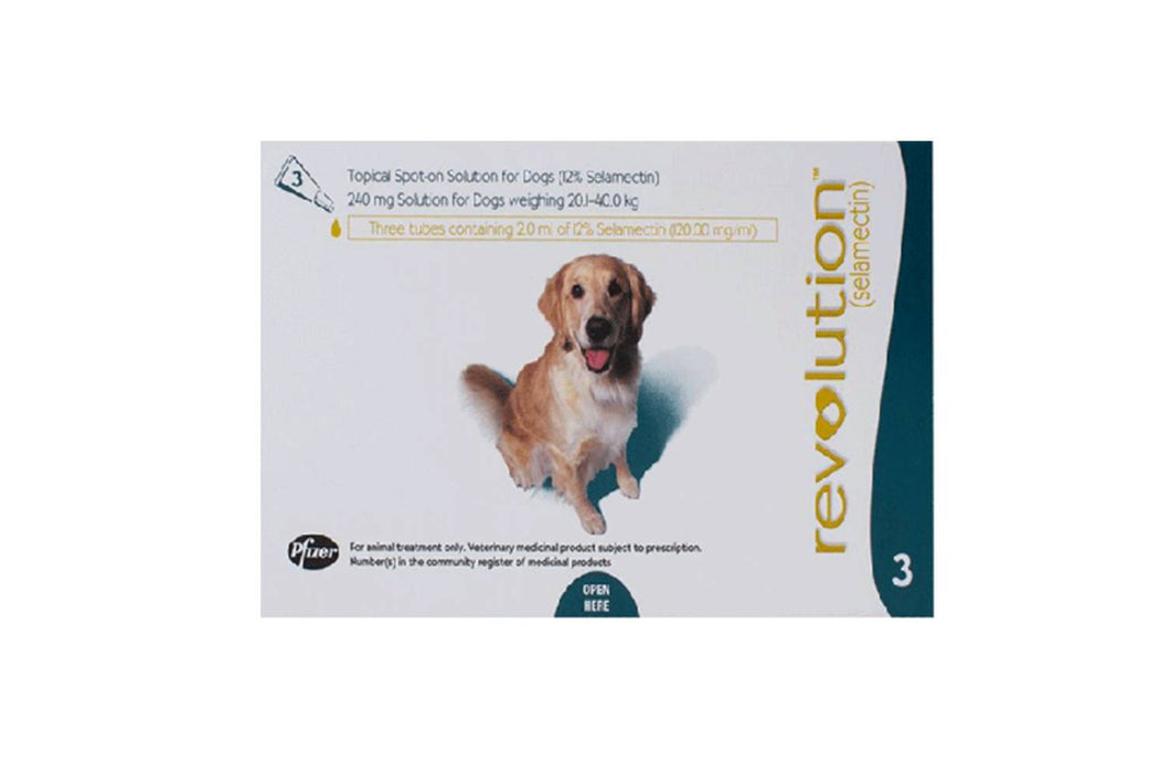 Revolution Teal for Dogs between 20.1-40kg (40.1-85lb) 3 Pipettes