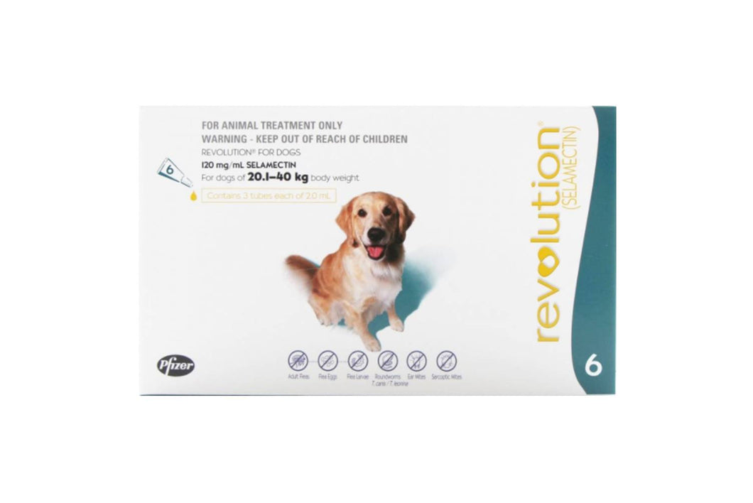 Revolution Teal for Dogs between 20.1-40kg (40.1-85lb) 6 Pipettes