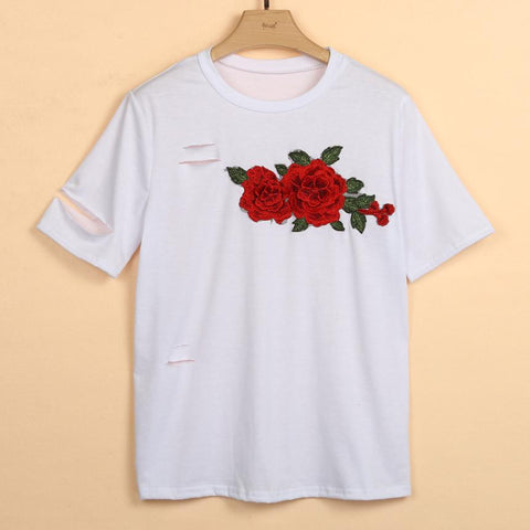 Distressed Rose Oversized T-Shirt