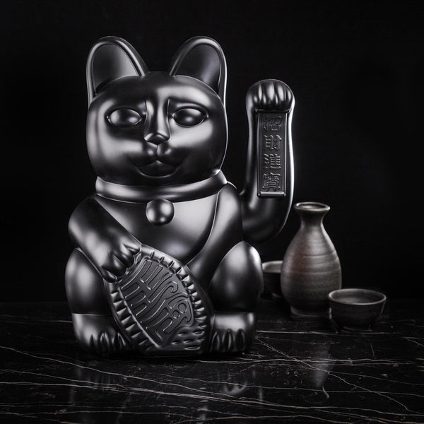 Lucky Cat Large Black MANEKI NEKO by donkey