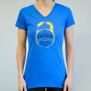 Ice Chamber Kettlebell Team Women's V-Neck Tee - Blue