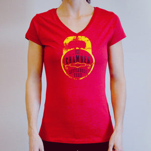 Ice Chamber Kettlebell Team Women's V-Neck Tee - Red
