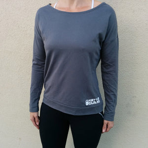 Women's Long Sleeve Scoop Top - Dark Grey