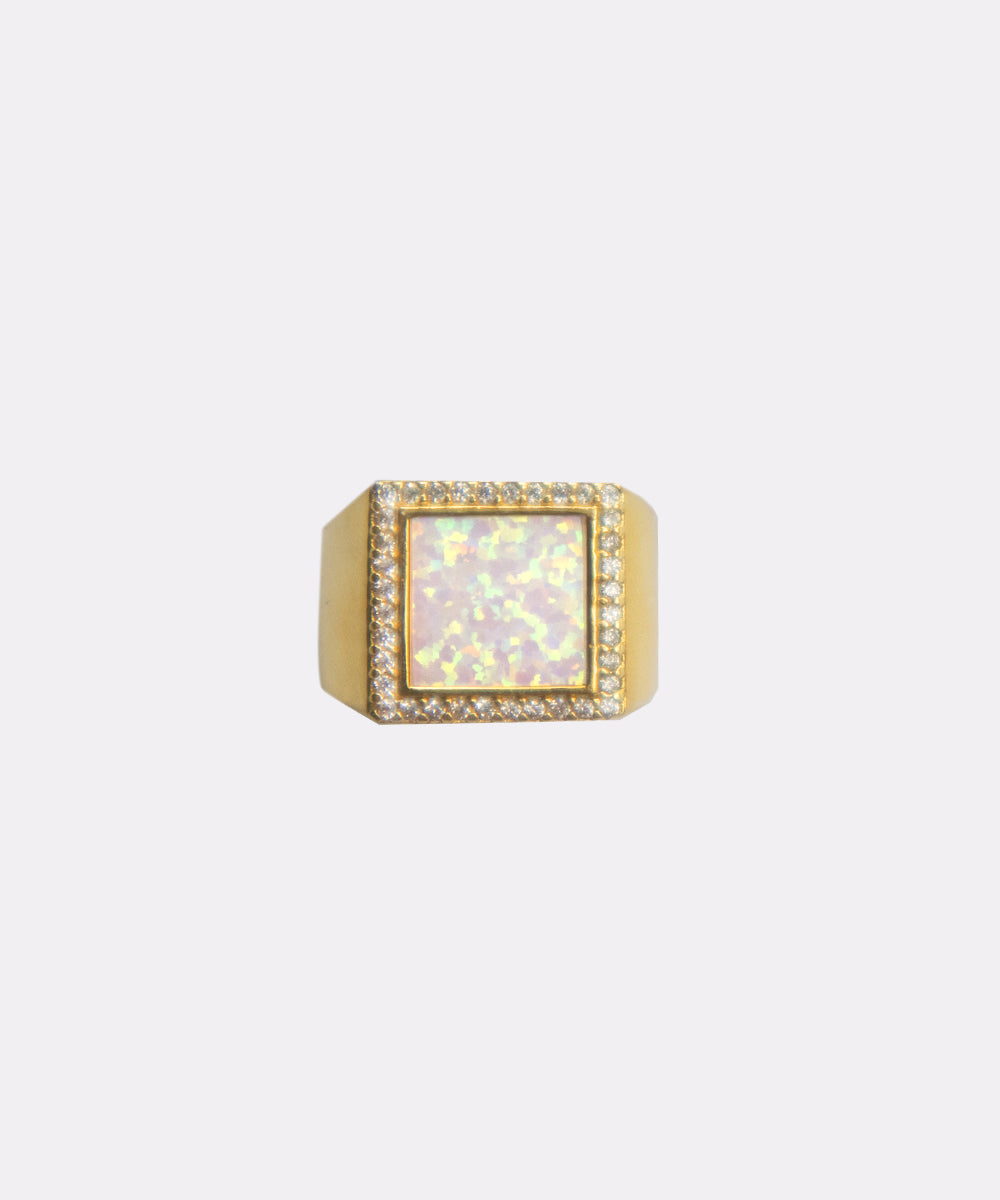 AMIR OPAL SQUARE SIGNET RING
