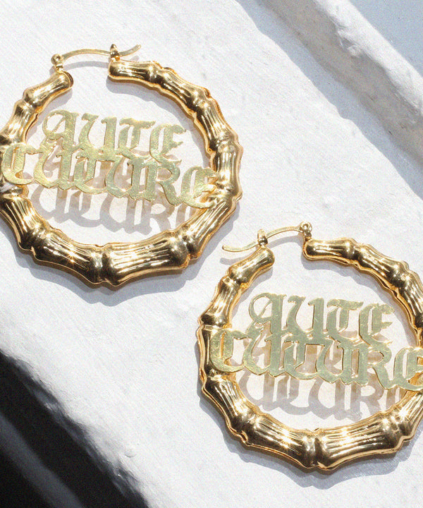 NOUVEAU GOTHIC BAMBOO NAMEPLATE HOOP EARRINGS