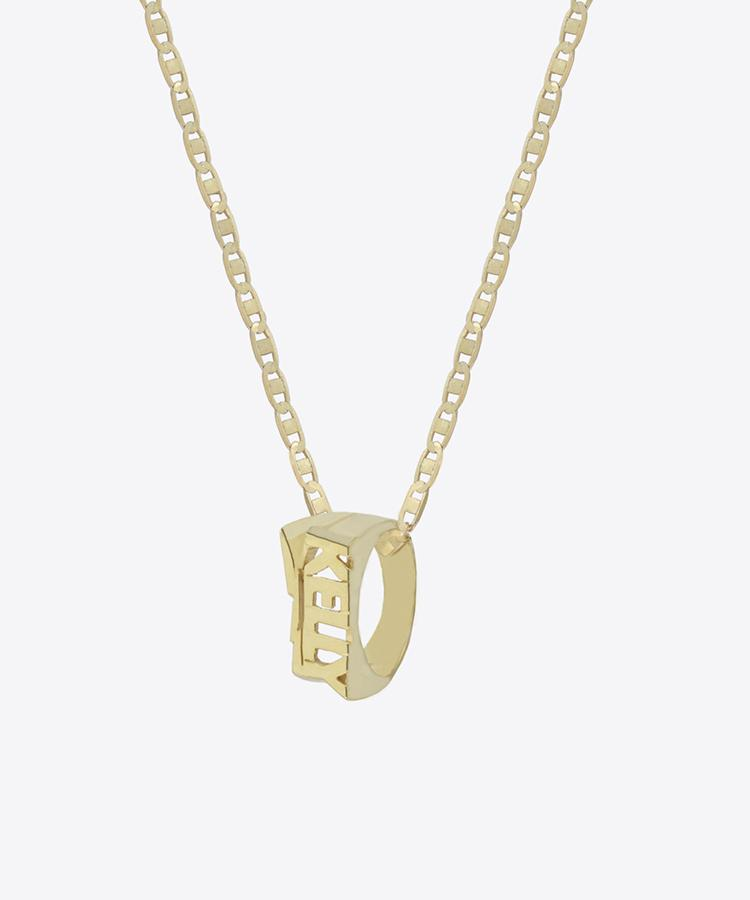 BOLT NAMEPLATE RING NECKLACE