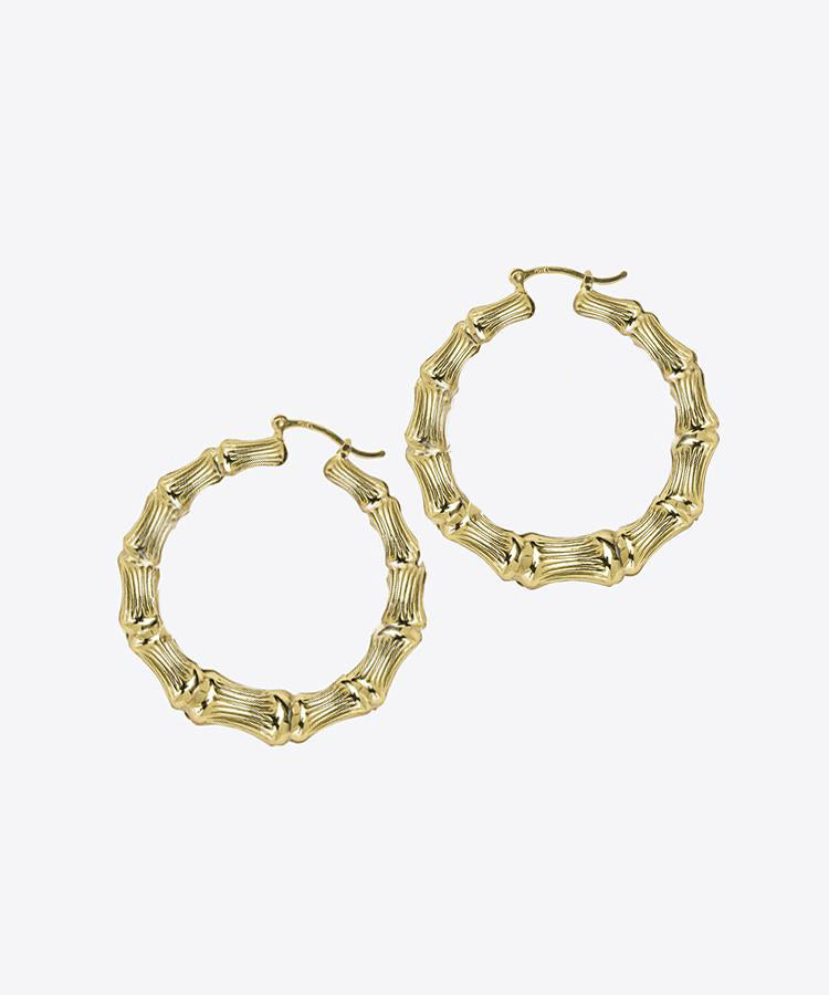 SHAMI PLAIN BAMBOO HOOP EARRINGS