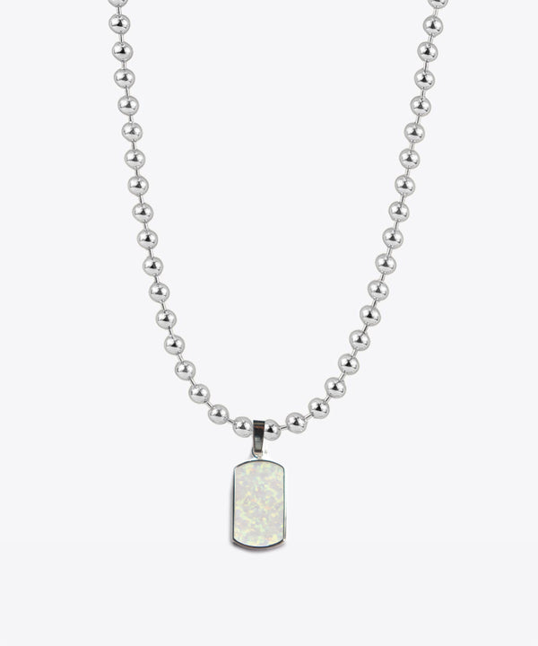 AMIR OPAL DOG TAG BALL CHAIN NECKLACE