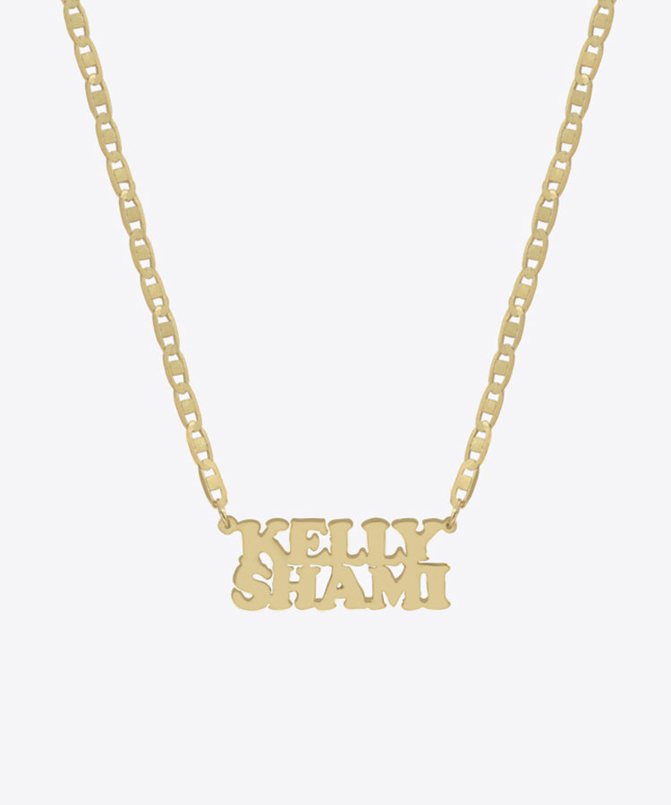 DOUBLE TRIP NAMEPLATE CHOKER NECKLACE